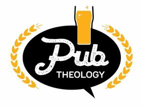 Pub Theology logo with a speech bubble saying