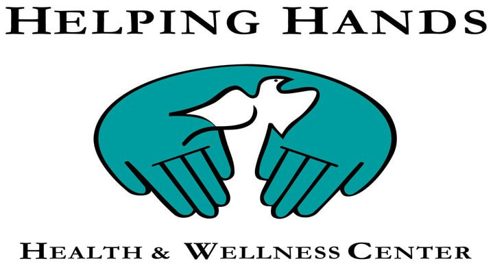 Helpng hands logo featuring two hands reaching out, with a dove between them.