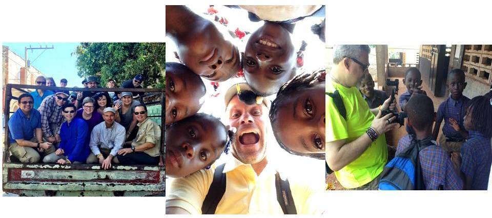 photos of Peace volunteers smiling in group photos with Haitian children.